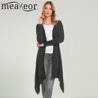 Meaneor Women Cardigan Casual 2018 Spring Thin Long Sleeve Solid Open Front Knee Length Soft Stretchy