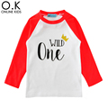 Girl T-shirts Brand Letter Wild One Long Sleeve Boy Girl T Shirt Tops 2017 Autumn Crown Kids T Shirts Baby Clothes Birthday Gift
