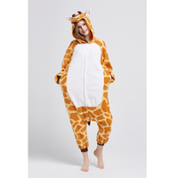 SESERIA Adult Flannel Giraffe Pajamas Onesies Costume Cartoon Animal Sleepwears Design For Women