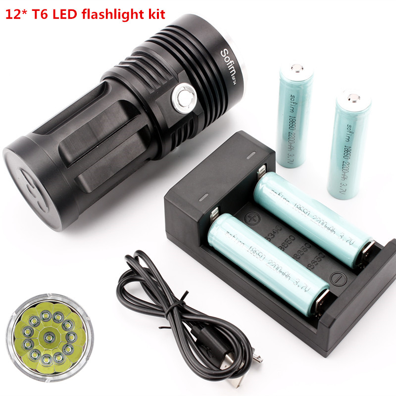 SF34-12 kit 2000lm 12*XML T6 Ultra Bright Flashlight 18650 Portable High Power LED Tactical Flashlight+4*18650 battery+charger