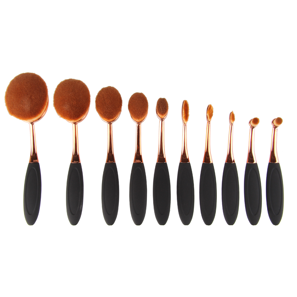 Free Shipping 10Pcs Makeup Brushes Set Extremely Soft Oval Toothbrush Rose Gold Makeup Brush Kit Foundation Cosmetic Tools