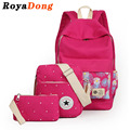 RoyaDong 2016 Printing Backpack Set Portfolio School Bags For Teenage Girls Canvas Prints Candy Color Mochila Rucksack