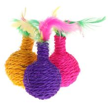 Cat Teaser Feather Sisal Ball Bite Chew Grind Claw Toys Kitten Funny Play Interactive Rolling Balls Exercise Pet Products