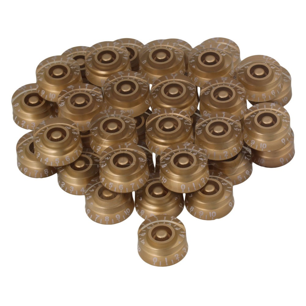 Yibuy 40x Speed Control Knobs Gold with White Number for Electric Guitar 4x gold lp guitar knobs control knobs speed knobs
