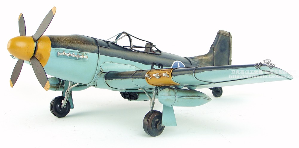 YJ Military Model Toys World War II USA P-51 Mustang Fighter/Bomber Handmade Metal Plane Model Toy For Gift/Collection kazi 82006 world war classical german air force model military building blocks educational toy fw190 fighter plane for kids