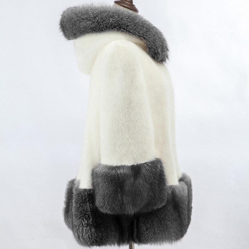 Capucha Imitación Zorro 6xl Conejo Mujer Para Con Alta Visón White De black Piel Invierno Plateado Abrigo pnSzEx