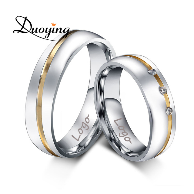 DUOYING Custom Name Wedding Rings Valentines jewelry with Engraving inside Stainless Steel Rings with AAA+ CZ Stone never fade