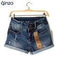 De las mujeres del verano rueda para arriba el dobladillo pantalones vaqueros rasgados agujeros agujeros femeninos de cintura alta pantalones cortos de mezclilla para mujer de alta calidad Libre gratis