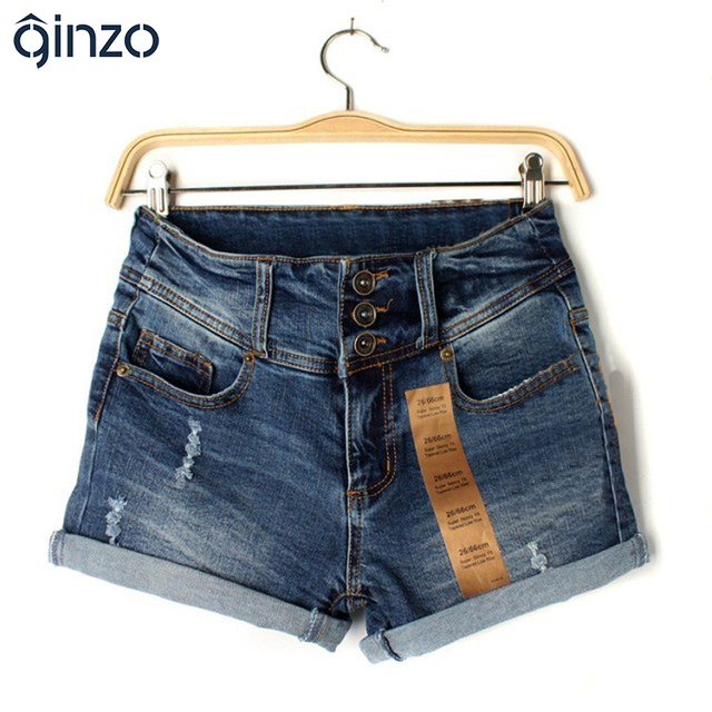 Summer women's roll up hem ripped jeans female holes high waist holes denim shorts for women high quality Free shipping