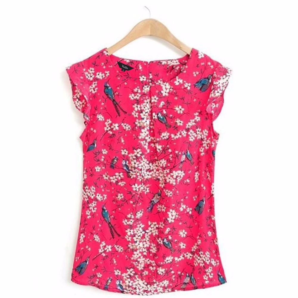 St1558 new fashion ladies 39 elegant floral print blue for Tops shirts and blouses