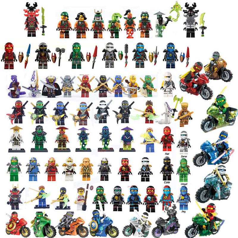 2018 Compatible LegoINGlys NinjagoINGlys Sets NINJA Heroes Kai Jay Cole Zane Nya Lloyd With Weapons Action Toys for children 2017 hot golden ninja go double head dragon knights building block mini kai zane cole jay figures weapons bricks toys for boys