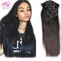 Luffy produtos reta de seda grampo de cabelo Remy indiano em extensões do cabelo cabelo humano virgem não processado Clip_Ins cabelo Weave 70 - 120 g