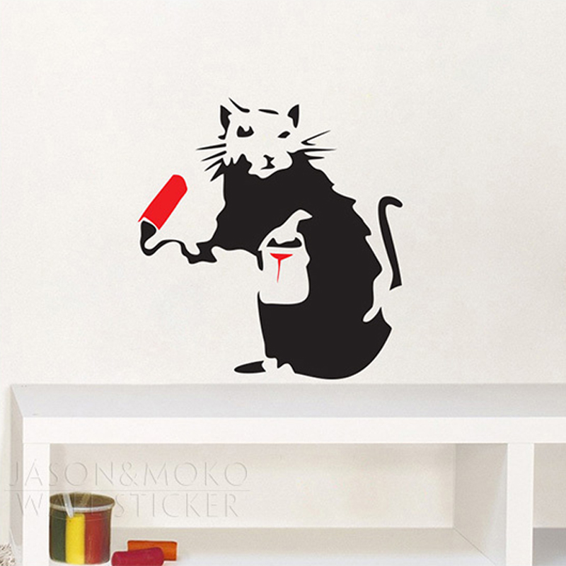 Home Decor Mural Art Wall Paper Stickers ~ Creative painting rat mouse animal banksy vinyl wall