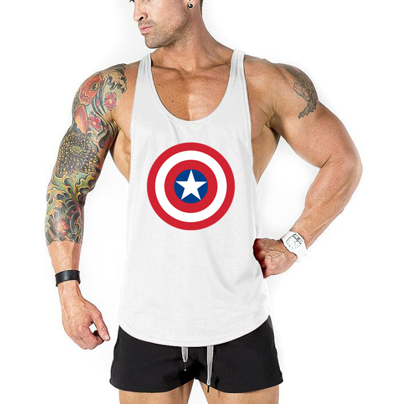 Brand Bodybuilding Stringer Clothing Captain America Gyms   Tank     Top   Men Fitness Men Vest Singlets sportswear Undershirt