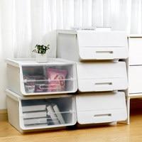 Flip Cover Type Storage Box Stackable Sundries Organizer Home Furnishing Plastic Drawer Organizer Stationery Box Oblique plastic