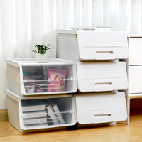 Flip Cover Type Storage Box Stackable Sundries Organizer Home Furnishing Plastic Drawer Organizer Stationery Box Oblique plastic