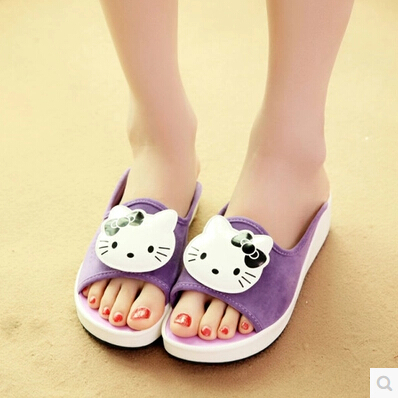 cd347f32c Summer Cute Hello Kitty Women Genuine leather Suede Summer Sandals High  heel Platform Slippers Thick heel Home slippers-in Women's Sandals from  Shoes on ...