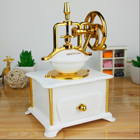NEW Imitation Wood Hand Crank Jewelry Music Box Antique Look Coffee Machine Mechanical Music Box Valentine Gift Music Boxes