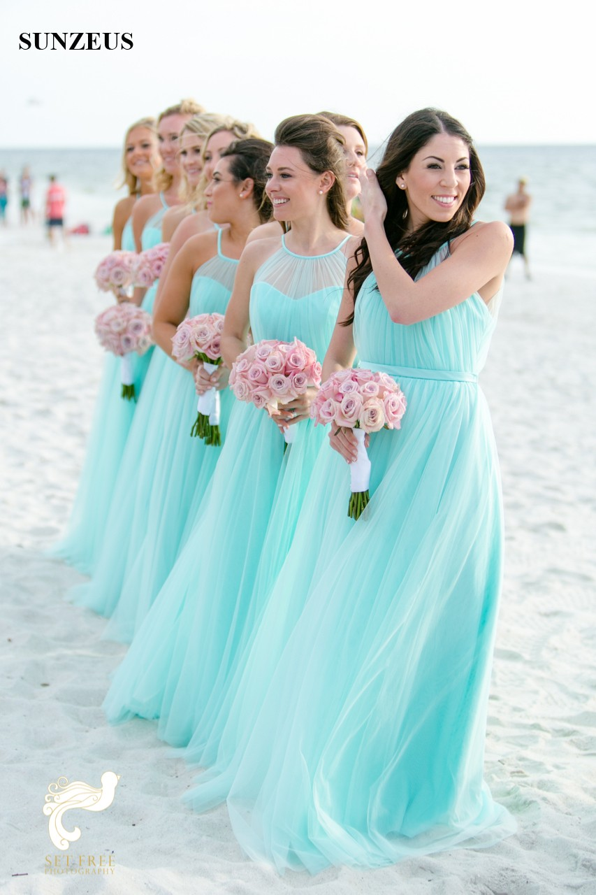 Robe Turquoise Long Tulle Bridesmaid Dresses For Beach Wedding ...