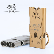 North Wolf stainless steel three tube whistle outdoor multi-function laser engraving high frequency survival whistle цены