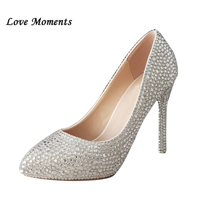 Love moments thin Heel soled shoes bride diamonds wedding shoes silver  rhinestone up heels point toe womens pumps High shoes 6aa0bd8509e7