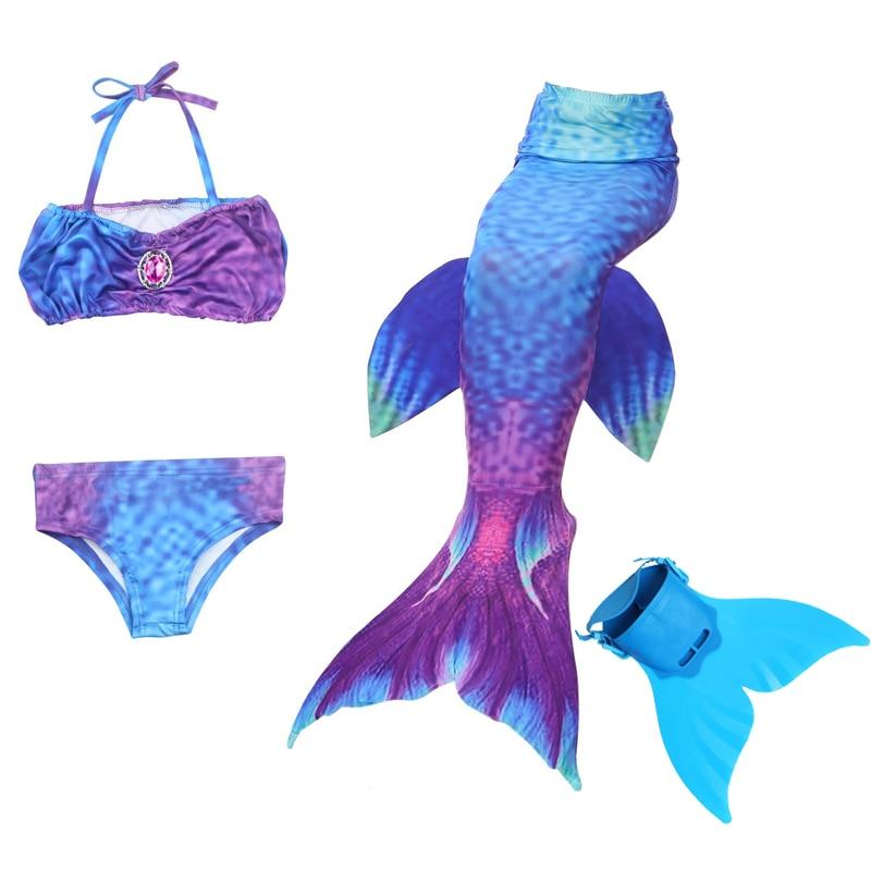 5 pièces/ensemble filles natation queue de sirène avec Flipper enfants Ariel maillot de bain nagable queue de sirène Costume enfant enfants filles
