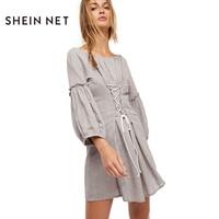 SHEINNET Solid Grey Sweet Mini Dress Women Adjustable Waist Slim Casual Lace Up Ruffles Elegant Fashion