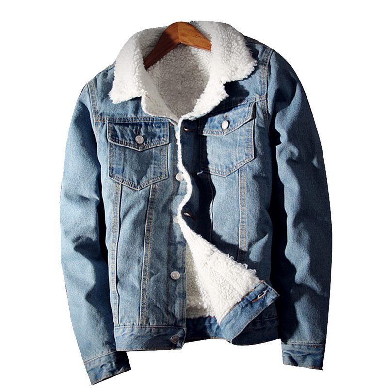NIBESSER Mens Hiphop חם צמר עבה ג 'ינס מעילי זכר אביב חורף ז' אן פרווה מעיל להאריך ימים יותר קאובוי זכר חם מעילי מעיל