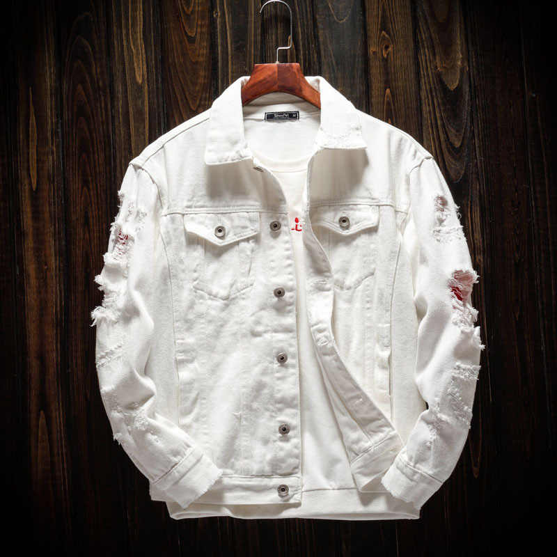 2018 가을 패션 남성 자켓 화이트 블랙 레드 컬러 파괴 찢어진 바이커 데님 자켓 남성 streetwear bomber jacket homme