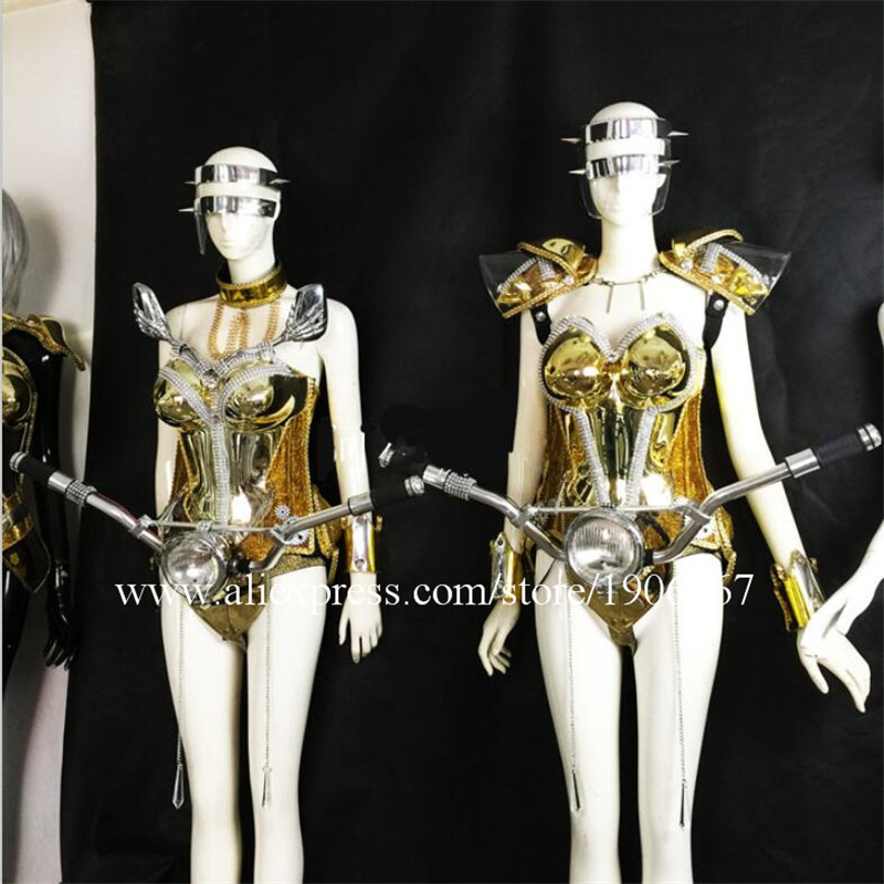 Silver Gold Plated Led Luminous Ballroom Sexy Women Costume With Locomotive Head For Party Evening Stage