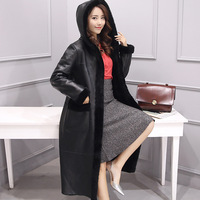 New Arrival Factory Sales Directly High Quality Thicking Wool Two Sides Wear Hooded Super Long Coat