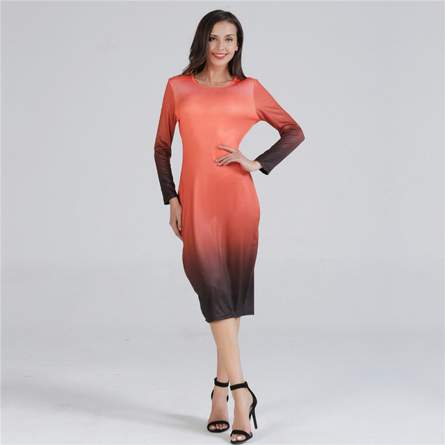 Women Autumn Bodycon Dress Elegant Round Neck Plus Size Dress Knit  Long Sleeve Dresses Gradient