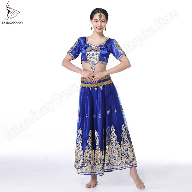aee66b22299429 New Bollywood Costume Women Dancewear Belly Dance Indian Dance Clothes  Embroidered Coins Top Belt Skirt 3pcs Set Belly Dancing