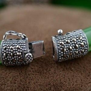 Image 3 - 순수한 925 실버 팔찌 그린 핑크 화이트 오팔 MARCASITE 100% S925 스털링 실버 직경 5.9cm Bangles for Women Jewelry