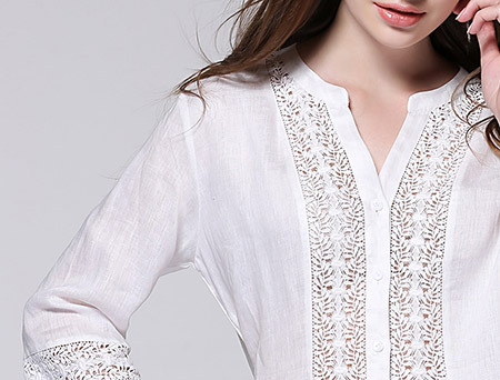 Casual wear v neck lace ladies linen long blouse 2015 for Linen white shirt womens