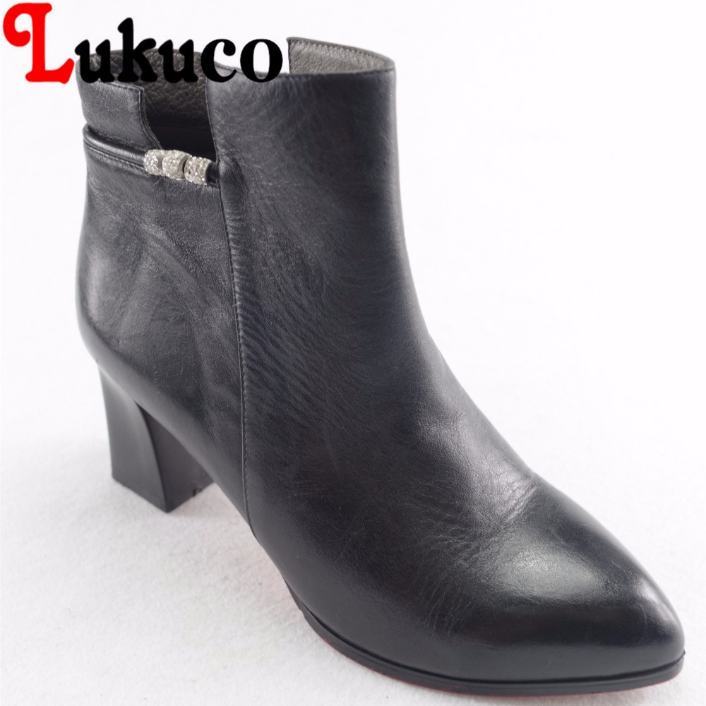 Lukuco string bead design women pointed toe fashion boots microfiber made high suqare heel zip shoes with pigskin inside