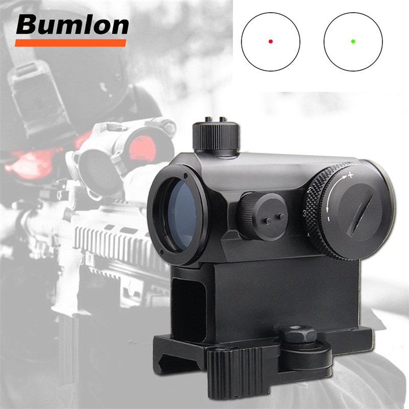 New Optical Sight Mini Micro 1X24 Reflex Green & Red Dot Scope Sight With QD Quick Riser Mount Red Dot Sight For Hunting Airsoft