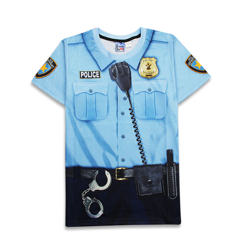 2018 Hot Funny Faux Real Police Uniform 3D Print T-shirt Men Suit Pullover Unisex Comfortable Homme Top Kids Costume ...