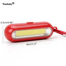 Tanbaby Mini Keychain Flashlight Pocket COB LED Work Light Super Brightness White Lamp with Carabiner for camping hiking fishing