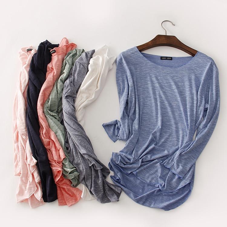 100% Cotton Tee Shirt Femme 2019 Harajuku Long Sleeve T Shirt Women Tops Fashion Work Blusa Loose T-shirt Camiseta Mujer 1414