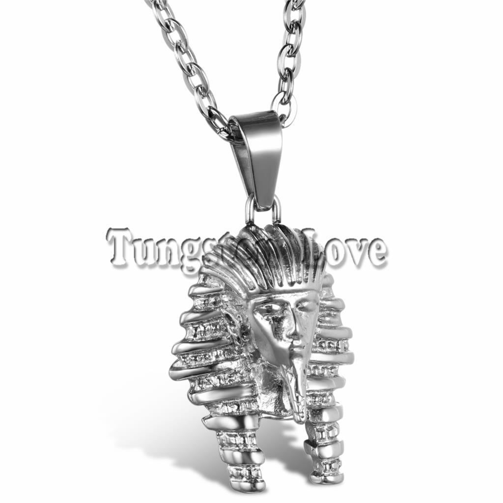 Bijoux de mode Vintage Classique Égyptien pharaon Tête Pendentif En Acier  Inoxydable Collier pour Hommes Femmes avec 55 cm Chaîne collier f9f64835025