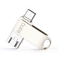 BanQ C80 Tipo-C/Micro/USB 3.0 de tres-en-uno USB Flash Drive 32 GB de Metal Pen Drive Clave 64 GB Tipo C de Alta Velocidad del Palillo de Pendrive 16 GB
