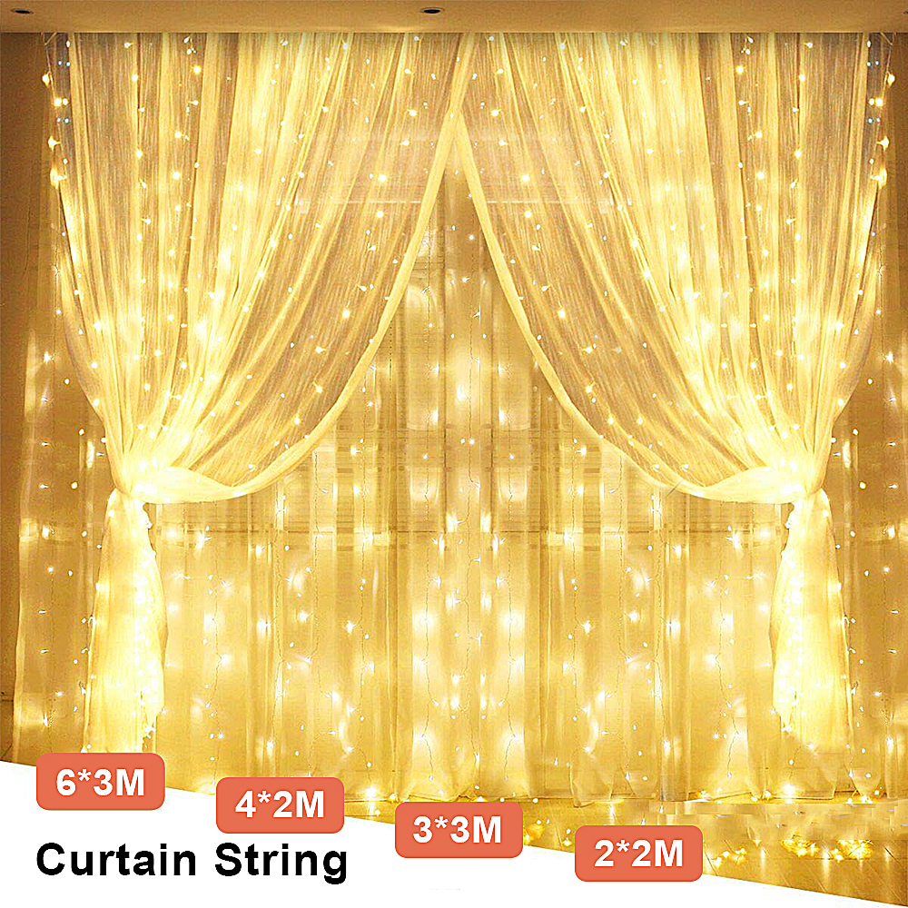 3x3/4x2m Street Garland Curtain LED Icicle String Fairy Christmas Tree Lights Outdoor/Indoor Decoration New Year Valentines Gift