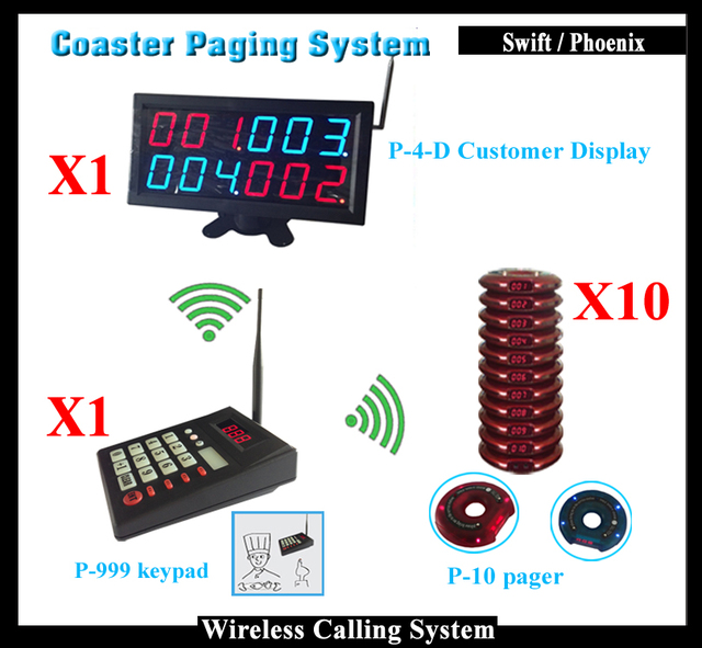 Número de Sistema de Llamada de Buscapersonas camarero Con K-4-D Cliente Pantalla y Teclado Transmisor y Receptor Buscapersonas para el Restaurante de Comida Rápida