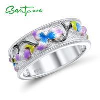 Silver Rings For Women Colorful Enamel Ring Pure 925 Sterling Silver Female Ring Party Fashion Jewelry