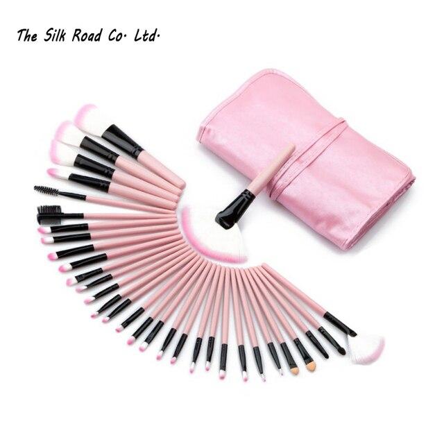 32 Unids/set Color Rosado Completo Pro Pinceles de Maquillaje Set sombra de ojos Delineador de Labios Brush Powder Herramienta Fundación