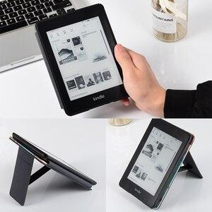 Image 5 - BOZHUORUI etui z podstawką do całkowicie nowego Kindle Paperwhite (10. Generacji, 2018 wydania) PU skórzany pokrowiec z pasek na rękę