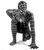 High Quality Lycra Spandex Amazing Spiderman Costume Adult Kids Child Black Spiderman Halloween Costume