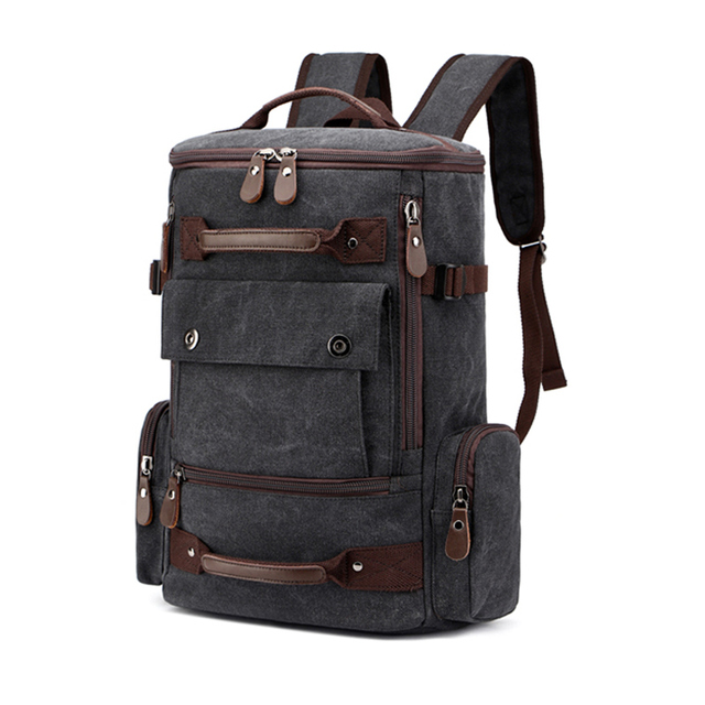 Canvas Men Backpack Male High Capacity Backpacks 15.6'' 17 Inch Laptop Bags Travel Back Pack Teenager Boys Schoolbag Backpacking
