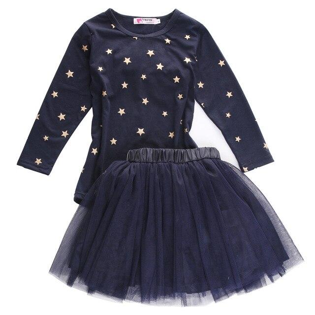 bbeda8de1d2c 2Pcs set Children Princess Dress Baby Girl Party Tops T shirt+Tulle ...